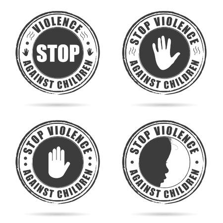 torment: grunge rubber stop violence against children sign on hand set art illustration