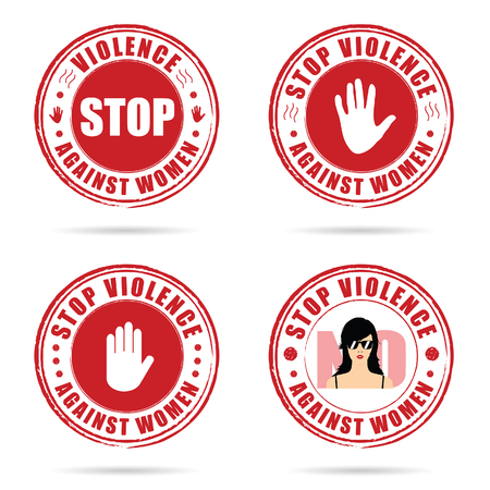 grunge rubber stop violence against woman sign in red color on hand illustration