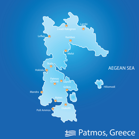 island of Patmos in Greece map illustration design in colorful