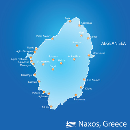 island of Naxos in Greece map illustration design in colorful