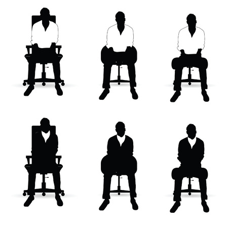 siting: man silhouette siting on chair in black and white color set illustration