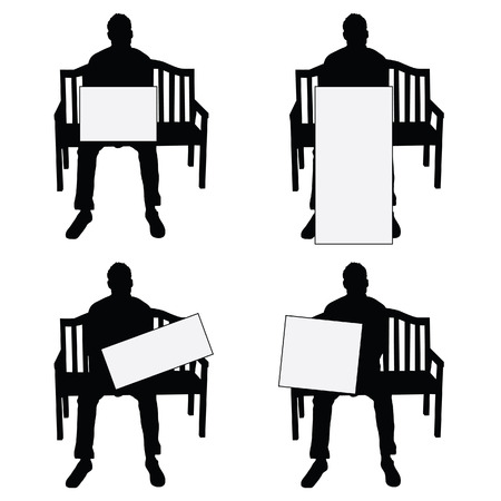 siting: man silhouette siting on chair with card set illustration on white background