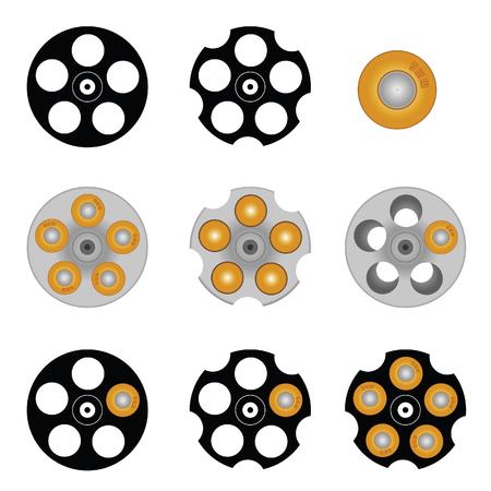 cilindro de revólver con cinco agujeros ilustración en colorido Ilustración de vector