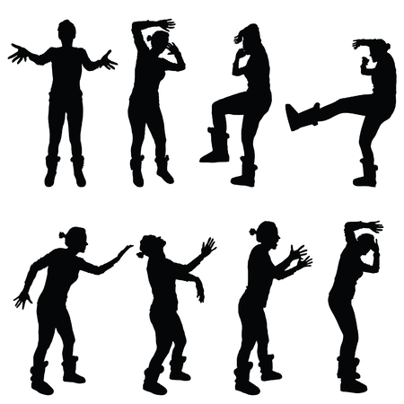 girl in various poses for violence silhouette black vector Vector Illustration