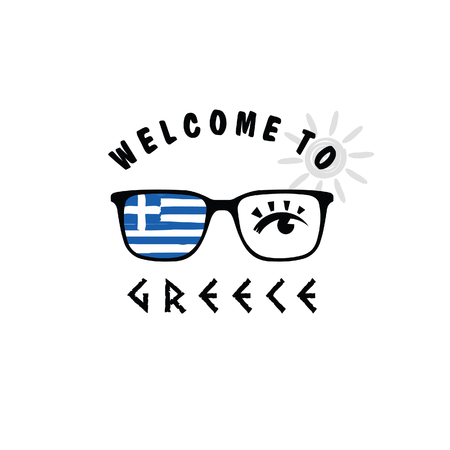 welcome to greece icon paradise on sunglasses art illustration Illustration
