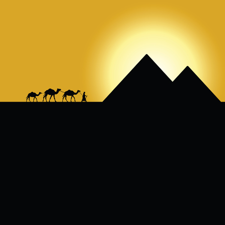 pyramid of the sun: gypt pyramids with camel caravan on sunset illustration