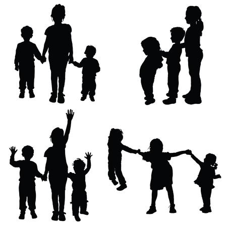 children holding hands black vector silhouette on white