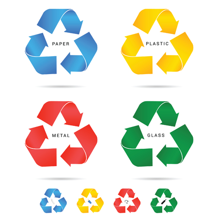 recycle icon for paper plastic and metal set illustration in colorful Illustration