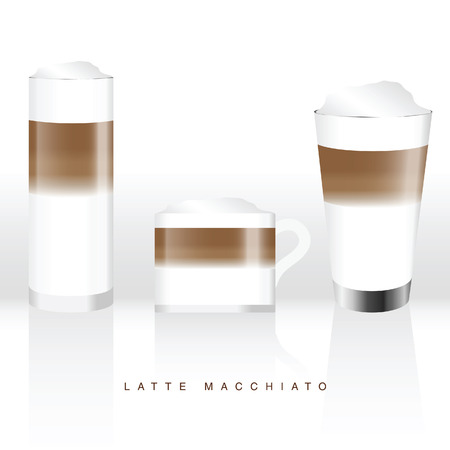 latte macchiato in three glass illustration on white background