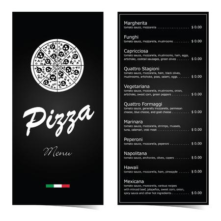 Pizza menu design on black illustration set two Ilustrace