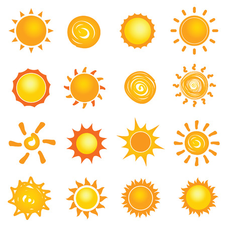 sun icon collection set illustration in colorful
