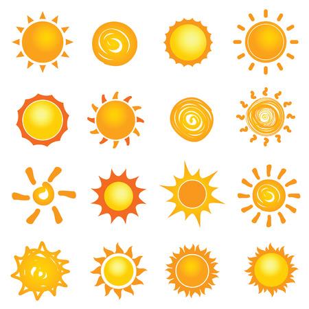 zon pictogram verzameling instellen afbeelding in kleurrijk Stock Illustratie