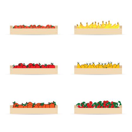 Caisses pour les fruits mis illustration en coloré Banque d'images - 79860015