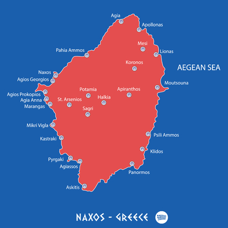island of naxos in greece red map illustration in colorful Illustration