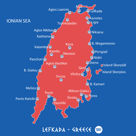 island of lefkada in greece red map illustration in colorful
