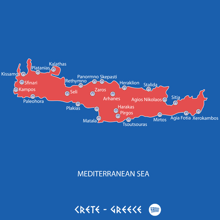 island of crete in greece red map illustration in colorful