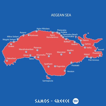 island of samos in greece red map illustration in colorful Illustration