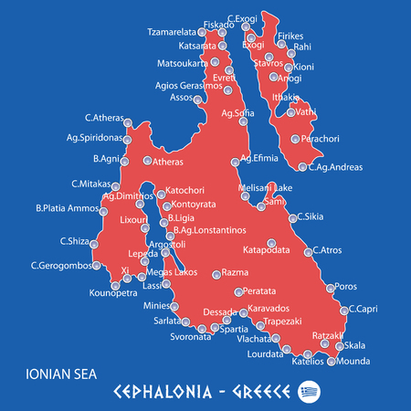 island of cephalonia in greece red map illustration in colorful
