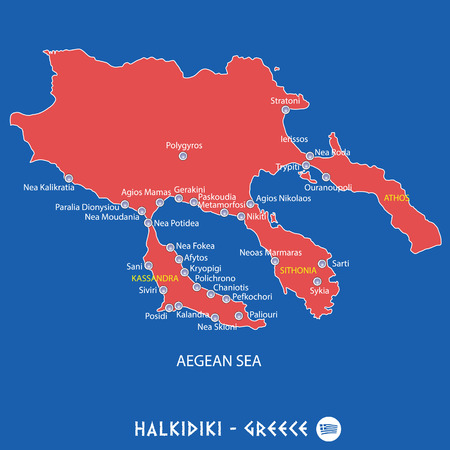 peninsula of halkidiki in greece red map illustration in colorful