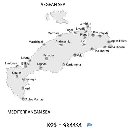 island of kos in greece white map art illustration Illustration