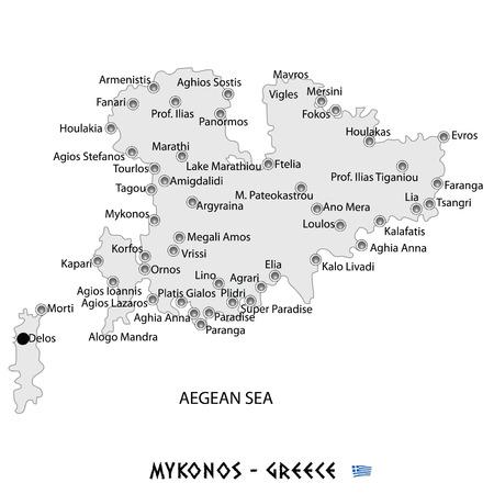 ミコノス島ギリシャの白い地図アート イラストで