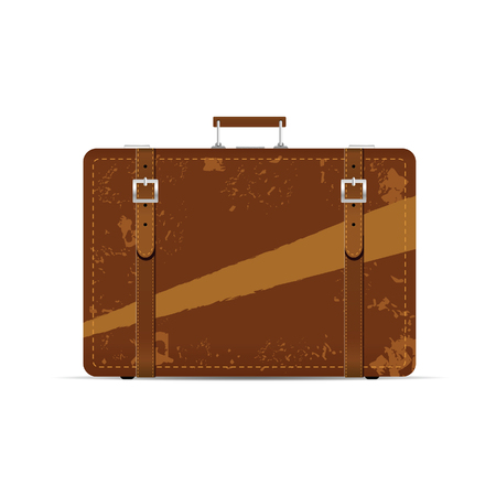 popular: vintage suitcase ancient illustration in brown color