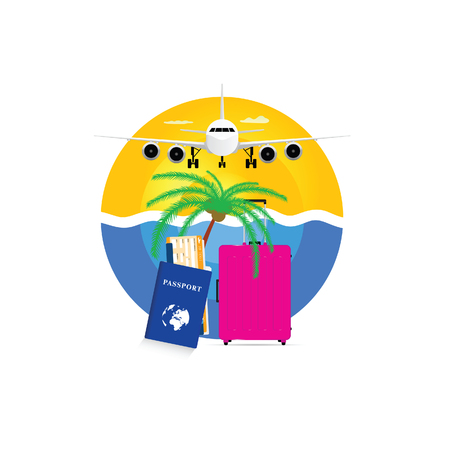popular: travel symbol with pink suitcase and passport illustration in colorful