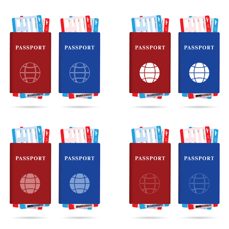 emigration: passport red and blue with ticket different and globe