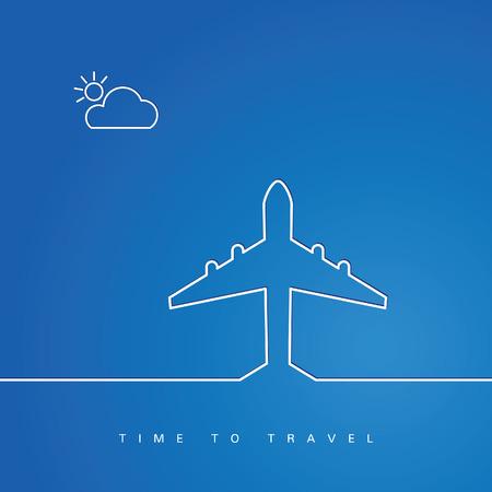 airplane white line art illustration vector background Çizim