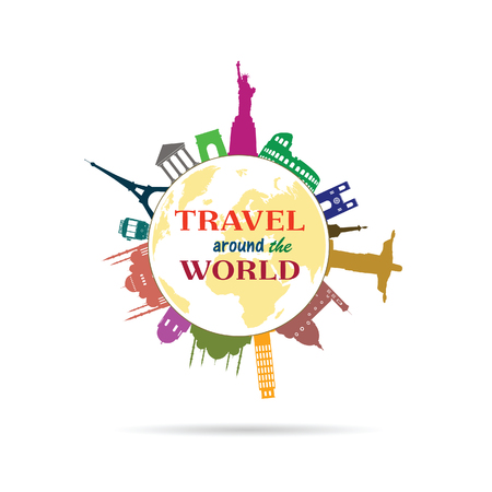 travel around the world sign with history building illustration in colrful Illustration