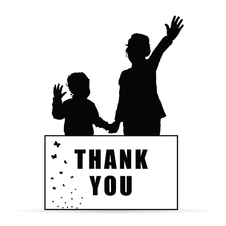 children silhouette with card thank you illustration Illustration