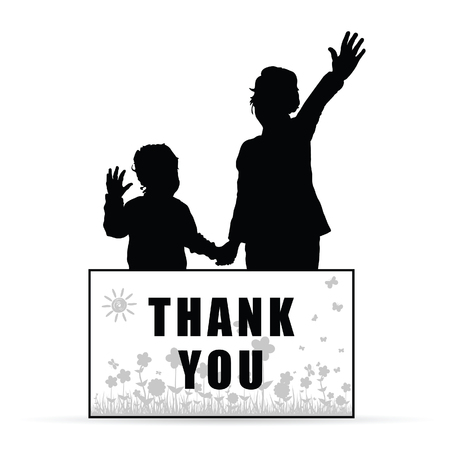 children silhouette with card thank you and flowers set illustration