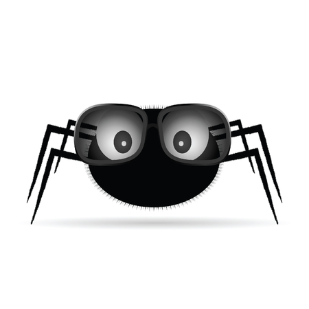 spider with sunglasses illustration on white