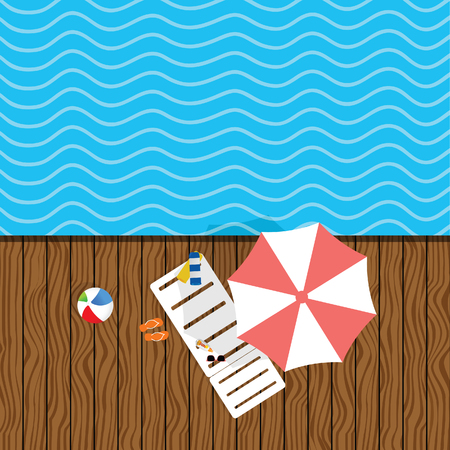 beach stuff with deckchair illustration in colorful
