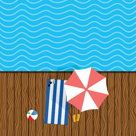 beach stuff with towel illustration in colorful Illustration