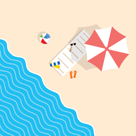 beach stuff with deckchair and umbrella leisure illustration in colorful Illustration
