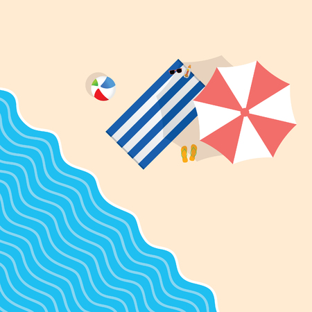 beach stuff with towel leisure illustration in colorful Illustration