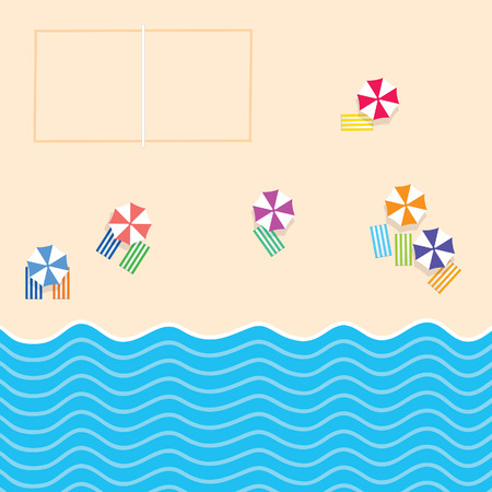 beach stuff with sport court and sea paradise illustration in colorful Illustration