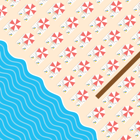 beach stuff with deckchair and sea leisure illustration in colorful Illustration