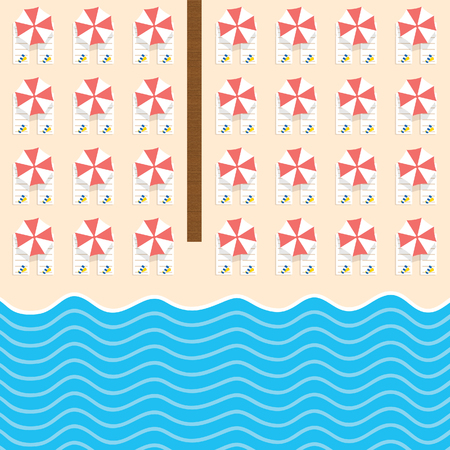 beach stuff with deckchair and sea set illustration in colorful