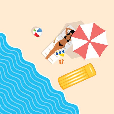 girl in bikini on beach paradise illustration in colorful
