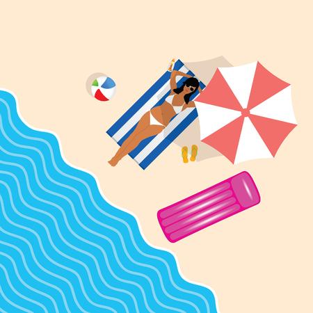 girl in bikini on beach paradise leisure illustration in colorful