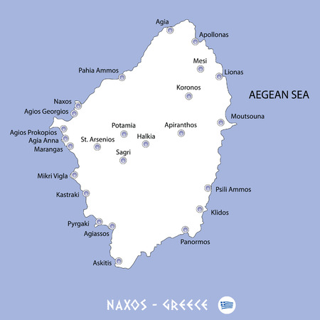 Island of naxos in greece white map and blue background illustration in colorful.