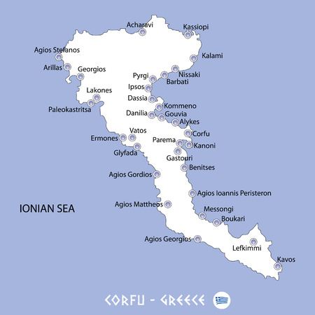 Island of corfu in greece white map and blue background illustration in colorful.