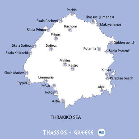 Island of thassos in greece white map and blue background illustration in colorful.