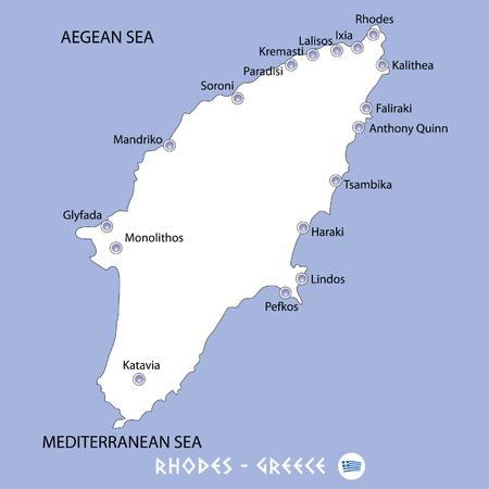 Eiland rhodes in Griekenland witte kaart en blauwe achtergrond illustratie in kleurrijke. Stock Illustratie