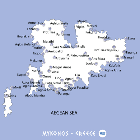 Eiland Mykonos in Griekenland witte kaart en blauwe achtergrond illustratie in kleurrijke. Stock Illustratie