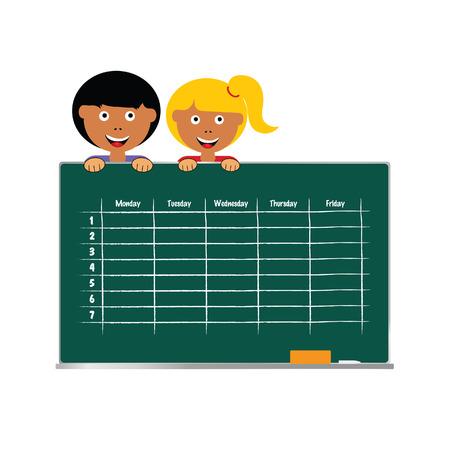 School timetable with children vector art illustration.
