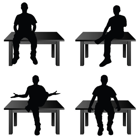 siting: man siting on table in various poses set illustration