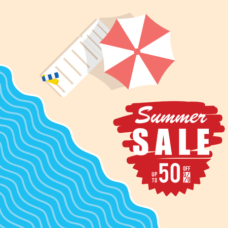 summer sale with beach item illustration in colorful Illustration